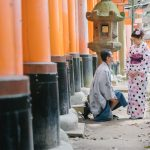 Rental Kimono photo shoot in Fushimi inari Kyoto with professional freelance photographer