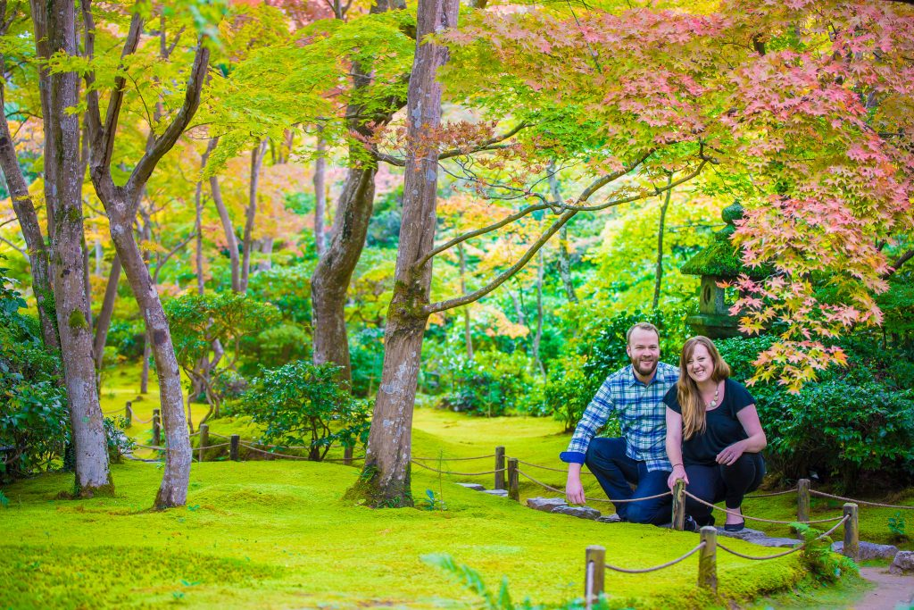 Engagement photo shoot in Arashiyama bamboo forest in Kyoto with professional photographer